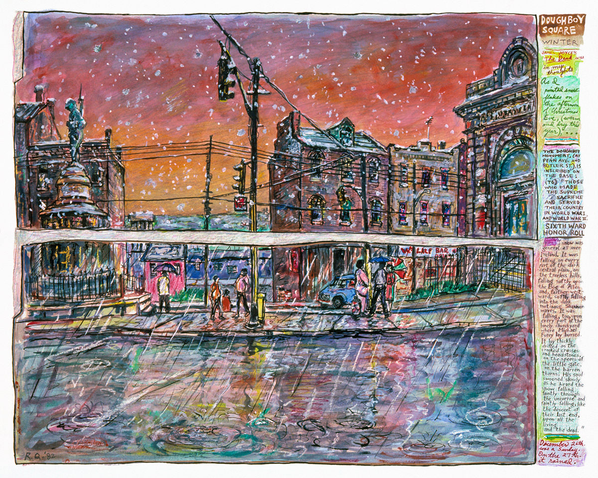 Doughboy Square – Winter • 1982 • mixed media on paper • 24 x 32""